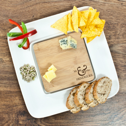 Personalised Mr & Mrs Bamboo Square Serving Platter